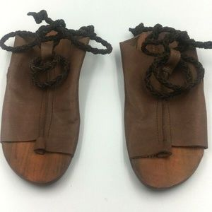 Free People Rope Tie Flat Sandal Leather Size 37
